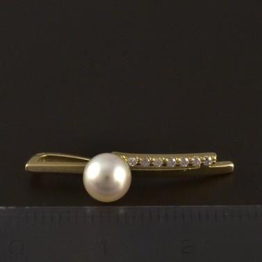 Moderní zlatý přívěsek s perlou 4679 č.2