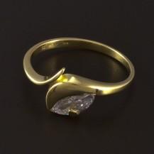 Zlatý prsten s bílým zirkonem 4684