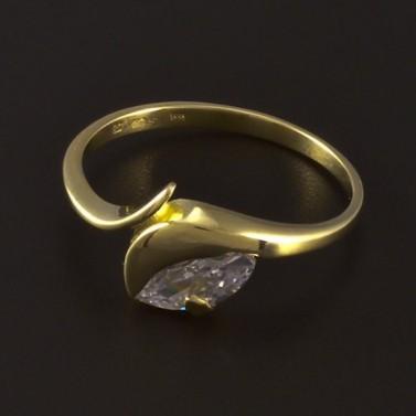 Zlatý prsten s bílým zirkonem 4684 č.1