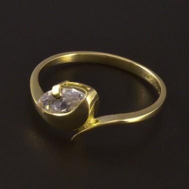 Zlatý prsten s bílým zirkonem 4684 č.2