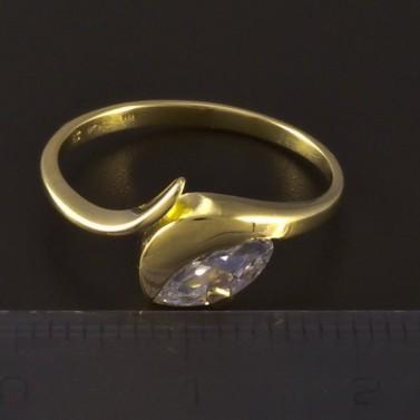 Zlatý prsten s bílým zirkonem 4684 č.3