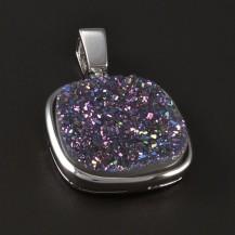 Stříbrný přívěsek fialový achát 4689