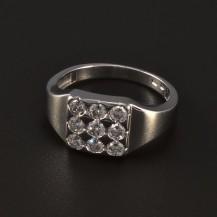Stříbrný masivní prsten třpytivé zirkony 4776
