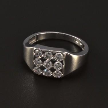 Stříbrný masivní prsten třpytivé zirkony 4776 č.1