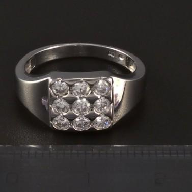 Stříbrný masivní prsten třpytivé zirkony 4776 č.2