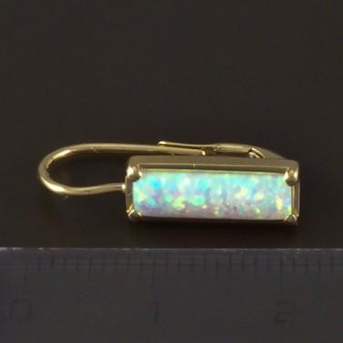 Zlaté náušnice obdélníkový opál 4817 č.3