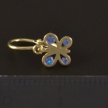 Zlaté dětské náušnice světlemodrý motýlek 4825 č.3