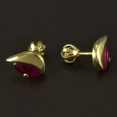 Zlaté náušnice rubín červený 4865 č.2