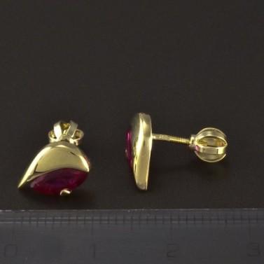 Zlaté náušnice rubín červený 4865 č.3