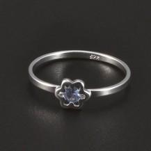 Stříbrný dětský prstýnek světlemodrý květ 4964