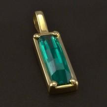 Zlatý přívěsek se zeleným zirkonem 4977