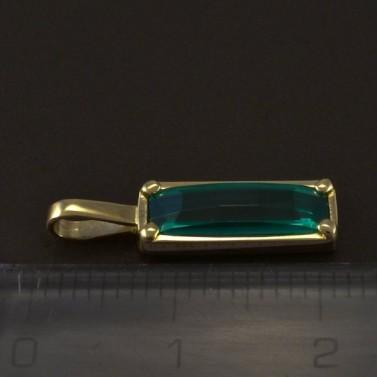Zlatý přívěsek se zeleným zirkonem 4977 č.2