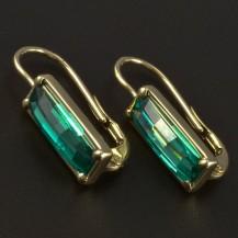 Zlaté náušnice obdélníkové smaragdy 5025