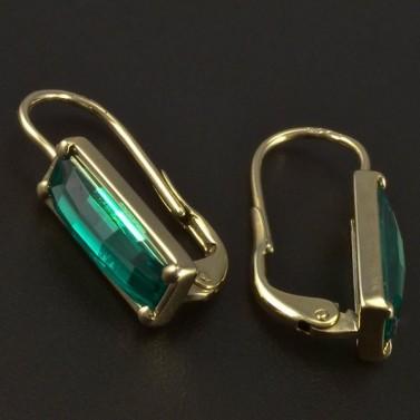 Zlaté náušnice obdélníkové smaragdy 5025 č.2