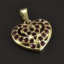 Přívěsek zlaté srdce s granáty 5112