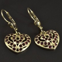 Zlaté náušnice srdce s granáty 5115