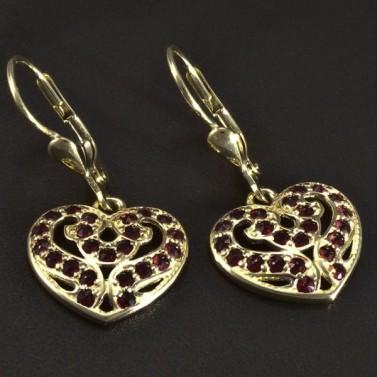 Zlaté náušnice srdce s granáty 5115 č.1
