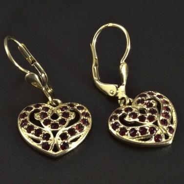 Zlaté náušnice srdce s granáty 5115 č.2