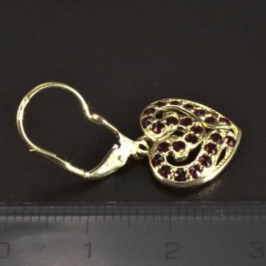 Zlaté náušnice srdce s granáty 5115 č.3
