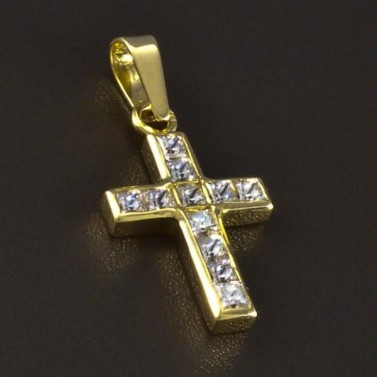 Zlatý křížek se čtvercovými zirkony 5158 č.1