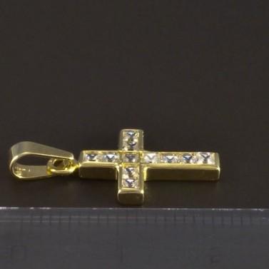 Zlatý křížek se čtvercovými zirkony 5158 č.2