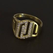 Zlatý masivní prsten bílé zirkony 5164