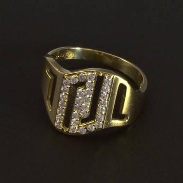 Zlatý masivní prsten bílé zirkony 5164 č.1