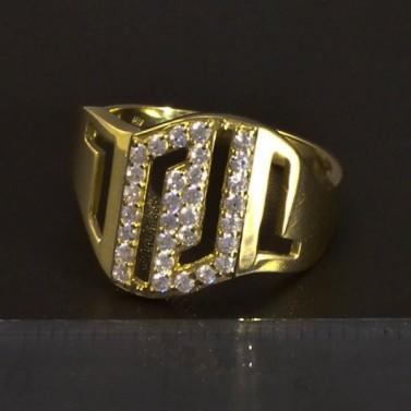 Zlatý masivní prsten bílé zirkony 5164 č.2