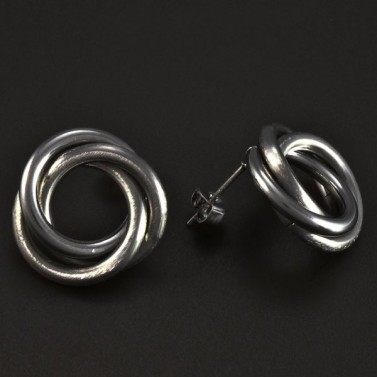 Náušnice ocelové propletené matné 5173 č.2