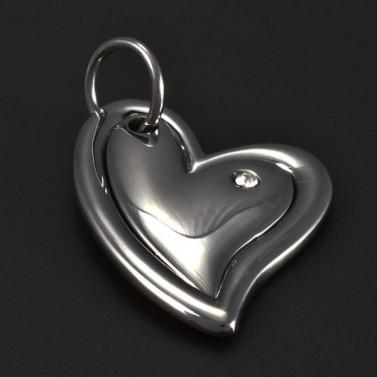 Přívěsek z chirurgické oceli srdce 5187 č.1