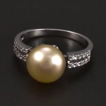 Stříbrný prsten  lososovo-růžová  perla 5208