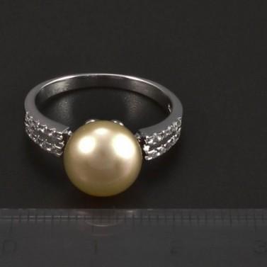 Stříbrný prsten  lososovo-růžová  perla 5208 č.2