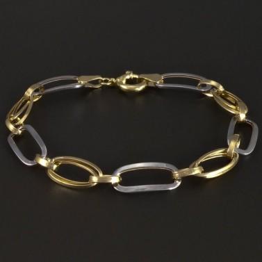 Zlatý náramek s velkými oky žlutobílý 5227 č.1