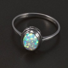 Prsten opál oválný bílé zlato 5244