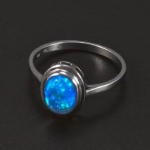 Prsten s oválným opálem bílé zlato 5245