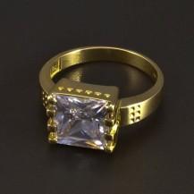 Zlatý prsten s čtvercovým zirkonem 5302