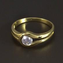 Zlatý masivní prsten zirkon 5316