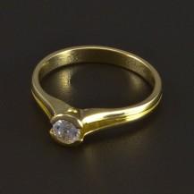 Zásnubní prsten zlatý bílý zirkon 5341