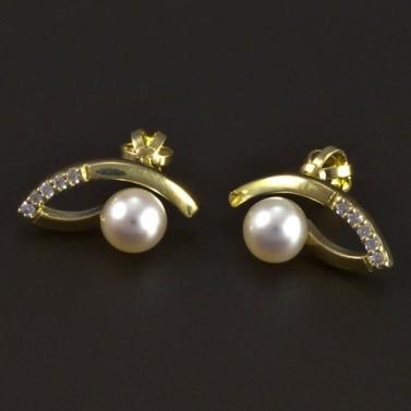 Zlaté náušnice perla a bílý zirkon 5344 č.1