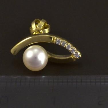 Zlaté náušnice perla a bílý zirkon 5344 č.2