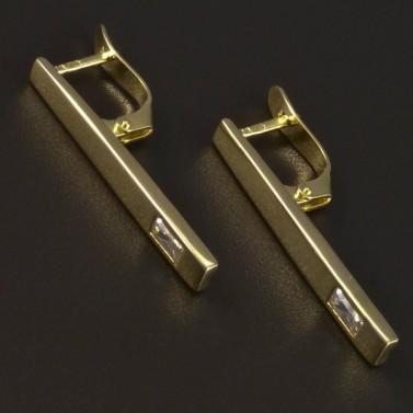 Zlaté náušnice obdélníkový zirkon 5345 č.1