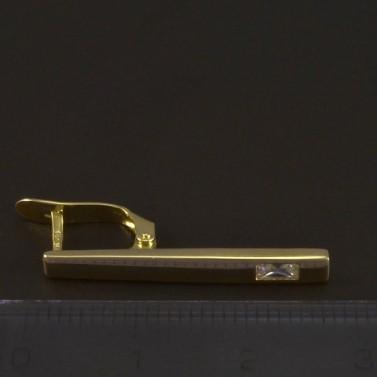 Zlaté náušnice obdélníkový zirkon 5345 č.2
