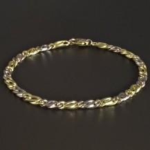 Masivní zlatý náramek žluté a bílé zlato 5347