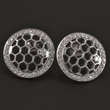 Stříbrné kulaté prořezávané náušnice 5387 č.1
