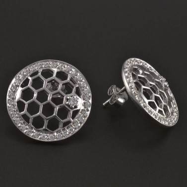 Stříbrné kulaté prořezávané náušnice 5387 č.2