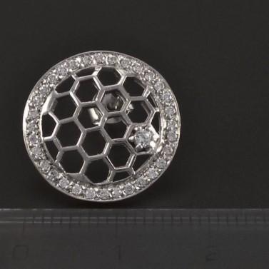 Stříbrné kulaté prořezávané náušnice 5387 č.3