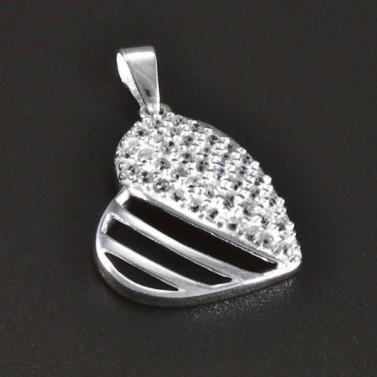 Stříbrné prořezávané srdce se zirkony 5409 č.1