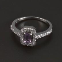 Stříbrný prsten ametyst fialový 5419