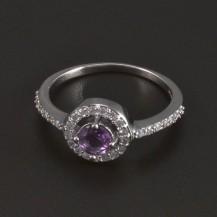 Stříbrný prsten kulatý fialový ametyst 5423