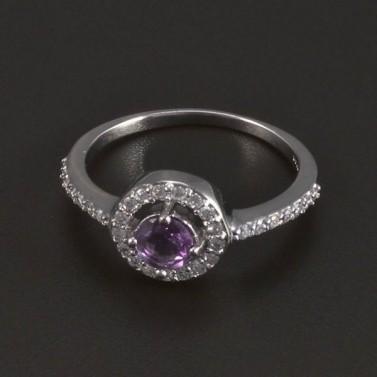 Stříbrný prsten kulatý fialový ametyst 5423 č.1